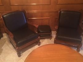 Nice Leather Den Chairs with ottomans