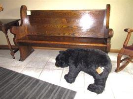 Ditz Bear shaped foot stool, oak 6ft. church pew