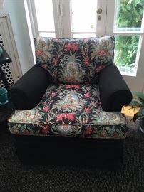 Black  Pattern armchairs pair