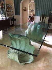 Dining Table, Shell Pedestals