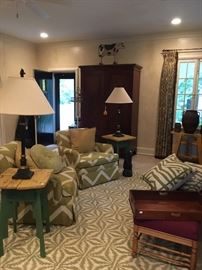 Green Upholstered Chairs and Contemporary Hooked Rug