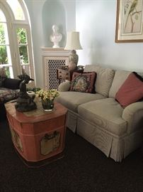 Loveseat Sleeper and Painted Trunk