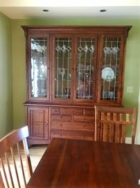Gorgeous Lexington Furnitue Co  Bob Timberlake Collection Arts and Crafts, Dining Room Table and China Cabinet with Leaded Glass.  Stunning!