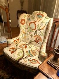 very nice ornate crewel work wing back in great condition