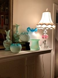 Rose bowls and Vases in timeless blue colors and one of a pair of art glass Italian lamps