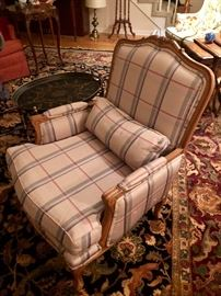 one of our favorites- silk plaid arm chair in colors of light purple and gray. We even have an extra bolt of fabric