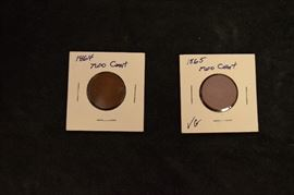 1864,1865 shield coins