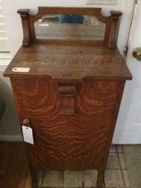 Antique Storage Cabinet w/ Mirror