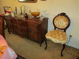 Antique Victorian chair, buffet