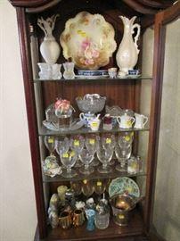 Antique glassware, porcelain