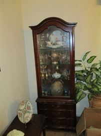 Hammary display cabinet with three drawers, antique glassware, some silver, porcelain