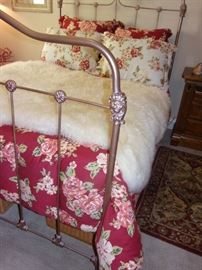 Antique iron full bed Metal frame in bronze with mattress and box springs. Does not included linens or fur.