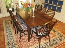 English Oak Dining Table and 8 Windsor Type Chairs