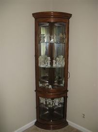 CORNER CURIO CABINET WITH CURVED GLASS