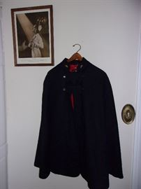 RARE VINTAGE RED LINING NURSING CAPE BY COLLEGIATE CAP & GOWN CO,  ADVERTISING JOHNSON & JOHNSON NURSE POSTER,