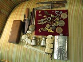 COLLECTIBLES INCLUDING IVORY, MILITARY, KNIVES ETC