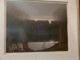 A RUSSELL CHATHAM LITHOGRAPH--POND IN FADING LIGHT