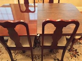 Fabulous Dining Room Set. American Drew Furniture. Six Dining Room Chairs. Two Arm Chairs. Two Table Leaves and Custom Table Pad.