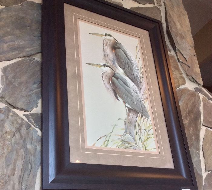 Great Blue Herons by Art La May, Signed and Numbered.
