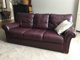 "Burgundy leather sofa (80"")"