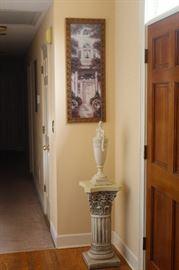 white column stand, decorative urn