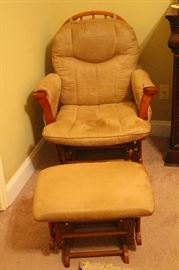 Wooden upholstered glider chair with spindle back with matching slider ottoman