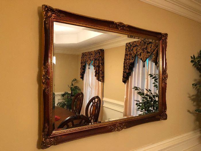 Beveled wall mirror, gold frame 47x33.5