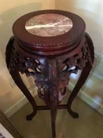 Marble topped carved wood table stand