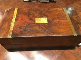 Military-style Civil War slant front  writing box