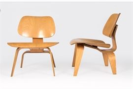Pr/signed Chas. Eames  for Herman Miller iconic LCW chairs. 1950s (Zeeland, MI).