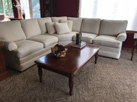 Upholstered sofa and coffee table