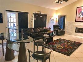 Contemporary leather sofa, recliner and bar w/ stools