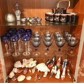 Bohemian stemware, Murano glass and shoe collection