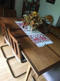 Inlaid wood custom made table and chairs