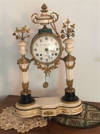 18 Century  German clock woks, French marble with French Gilt