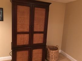 RATTAN AND WOOD ARMOIRE