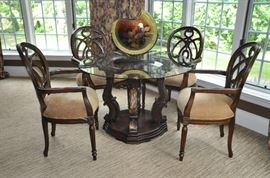 "Fantastic 46"" round glass dining table/game table!"