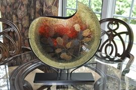 Fun large art glass on stand