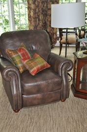 "Great brown leather recliner with nailhead design 39"" w x 39""h x 36""d ( 2 available!)"