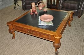 "Henredon carved legs and leather top coffee table 36"" square x 18""h"