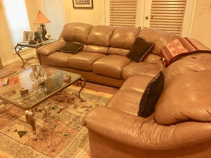 Tan sectional leather sofa in great shape