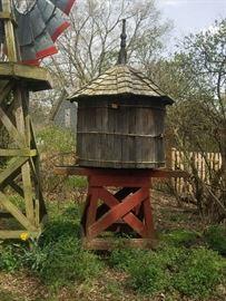 10' Tall Wood Water Tank - Decorative Only. Does not hold water.  Approx. 4' diameter. Base is 4' Tall. Tank is approx. 6' with cool finial. Pre-sale $950