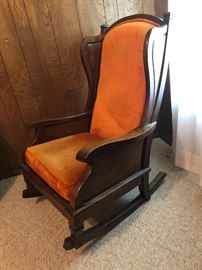 70's wooden rocker with plush orange original material
