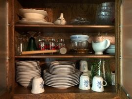 Brickoven stoneware service for 8-(5pc place setting) plus other dishes such as depression glass, pickard china, USQMC shenango china, etc