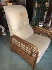 Vintage Classic Rattan, Inc. couch, recliner, dining table and 4 chairs and end table.