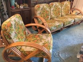 "Vintage Calif-Asia rattan ""pretzel"" chair and 3-piece sofa—use together or separate."