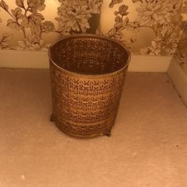 Golden tone filigree trash can