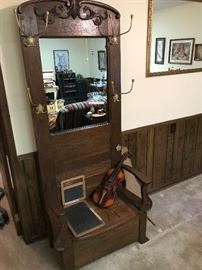 Oak hall tree, violin, antique slates