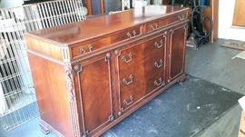 "Beautiful buffet. 66""w x 3'h x 2q""d. Matches Dining room table and 8 chairs"