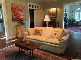 Nice yellow damask upholstered sofa and federal revival style drop leaf coffee table
